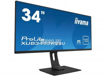 "Монитор Iiyama 34"" ProLite XUB3493WQSU-B1 черный IPS LED 5ms 21:9 HDMI M/M матовая HAS Pivot 400cd 178гр/178гр 3440x1440 DisplayPort USB 8.5кг"